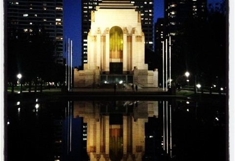 War Memorial in Hyde Park at night