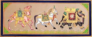 Camel, horse, elephant