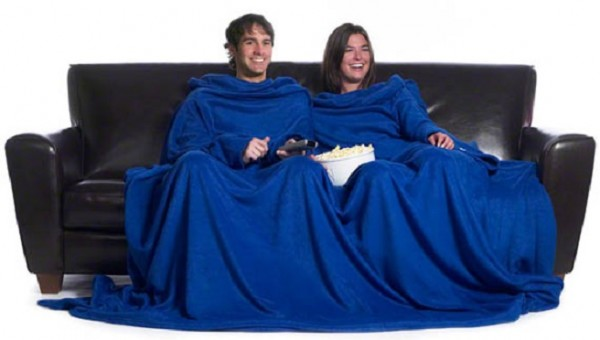 This image is called ''Products for Extremely Close Couples' and this product is called a 'slanket'. What exactly is the first word of that portmanteau? Slut blanket?